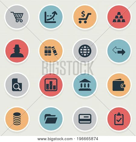 Elements Store Cart, Bullion, Supervision List And Other Synonyms Flow, Parthenon And Thief.  Vector Illustration Set Of Simple Investment Icons.