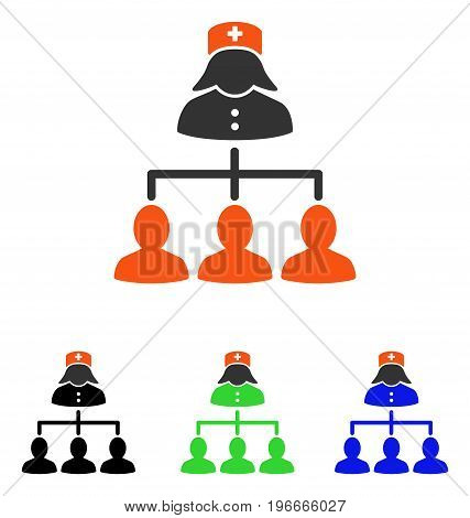 Nurse Patients Connections vector pictograph. Illustration style is a flat iconic colored symbol with different color versions.