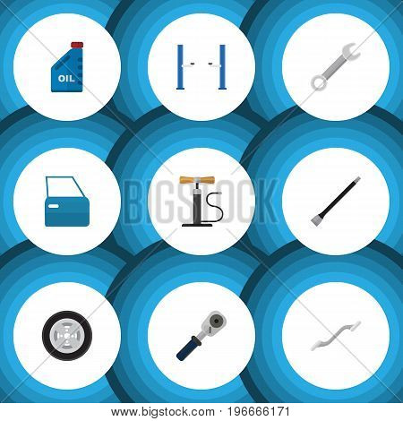 Flat Icon Service Set Of Automobile Part, Coupler, Pipeline And Other Vector Objects
