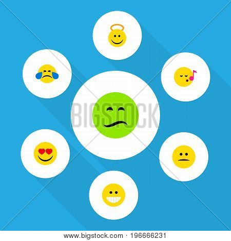 Flat Icon Face Set Of Grin, Displeased, Love And Other Vector Objects
