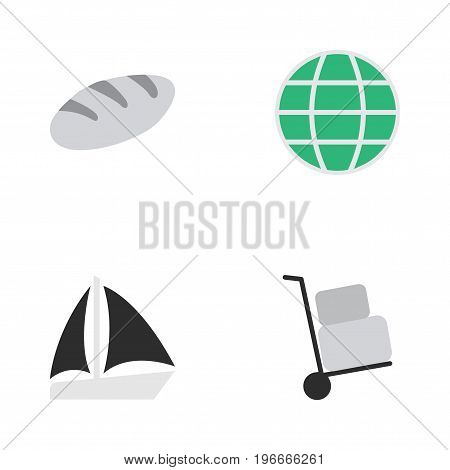 Elements Schooner, Cargo, World And Other Synonyms Cargo, Sailboat And Planet.  Vector Illustration Set Of Simple Holiday Icons.
