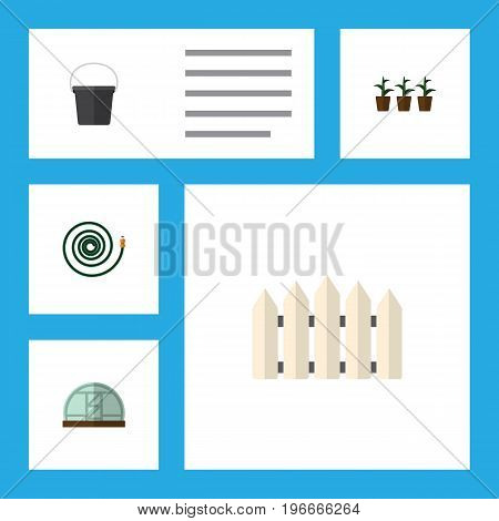 Flat Icon Dacha Set Of Hosepipe, Hothouse, Wooden Barrier And Other Vector Objects