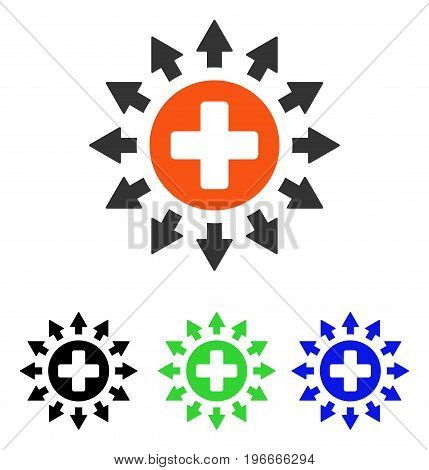 Pharmacy Distribution vector icon. Illustration style is a flat iconic colored symbol with different color versions.