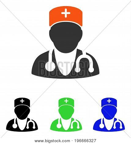 Physician vector pictogram. Illustration style is a flat iconic colored symbol with different color versions.