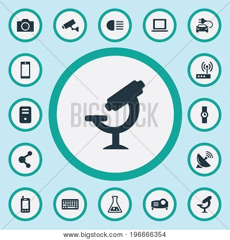 Elements Microbiology , Portable Computer, Hand Clock Synonyms Modem, Processor And Satellite.  Vector Illustration Set Of Simple Technology Icons.