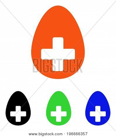 Plus Egg vector pictogram. Illustration style is a flat iconic colored symbol with different color versions.