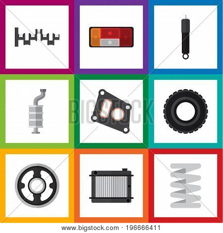 Flat Icon Auto Set Of Gasket, Wheel, Heater And Other Vector Objects