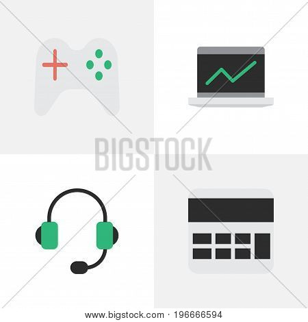 Elements Notebook, Microphone, Gamepad And Other Synonyms Microphone, Gamepad And Statistics.  Vector Illustration Set Of Simple Devices Icons.