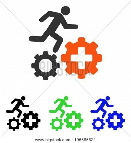 Runner Treatment Process Gears vector icon. Illustration style is a flat iconic colored symbol with different color versions.