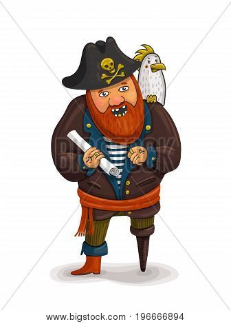 An illustration of a friendly cartoon pirate holding a treasure map. A cartoon pirate with a parrot on his shoulder. Pirate Red beard. One-legged pirate. Vector illustration