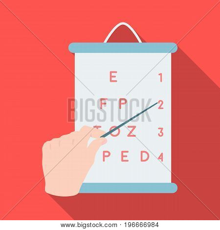 Gesture, manipulation of the hand with a pointer when checking the vision according to the table. Medicine single icon in flat style vector symbol stock illustration .