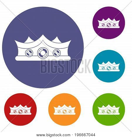 King crown icons set in flat circle red, blue and green color for web