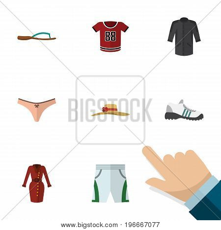 Flat Icon Clothes Set Of Beach Sandal, Uniform, Elegant Headgear Vector Objects