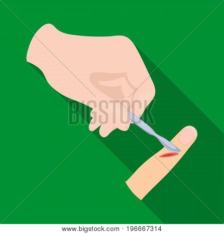 Cut the finger with a surgical scalpel. Surgery single icon in flat style vector symbol stock illustration .