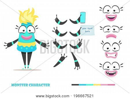 Monster character animation and creation set. Parts of body for design you scene. Cute faces and emotions. Moving arms, legs. Cartoon female alien constructor. Fear, joy, smile, sadness.