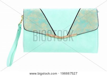 Blue Leather Handbag With Wrist Strap Isolated On White Background