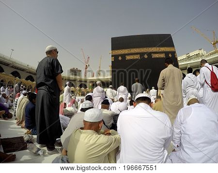 MECCA, SAUDI ARABIA, 13 April 2017 - Muslim pilgrims from all over the world gathered to perform Umrah at the Haram Mosque.Muslims circle the Kaaba counterclockwise seven times.