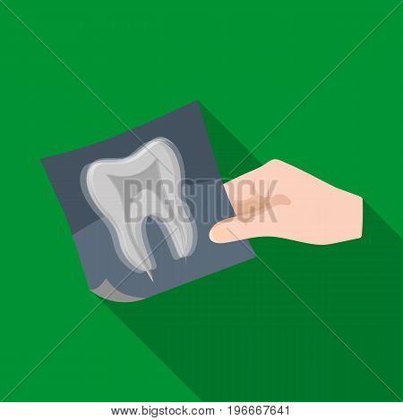 X-ray of the tooth in the hand of the dentist. Stomatology single icon in flat style vector symbol stock illustration .
