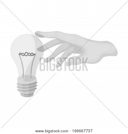 Replacement of an electric bulb. Incandescent lamp single icon in monochrome style vector symbol stock illustration .
