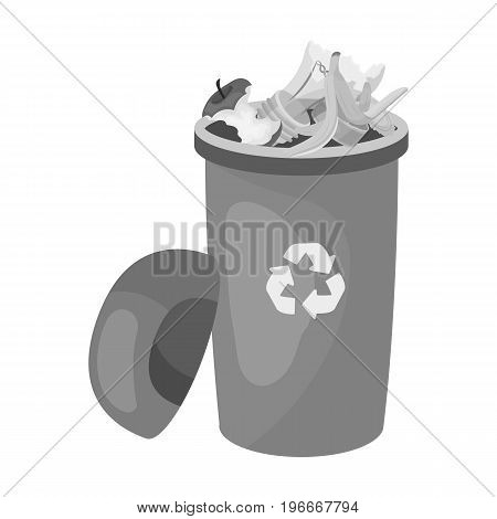 A full garbage can with waste. Rubbish and Ecology single icon in monochrome style vector symbol stock illustration ,
