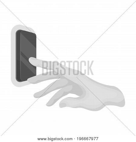 A hand that includes an electric switch. Push Button Switch single icon in monochrome style vector symbol stock illustration .