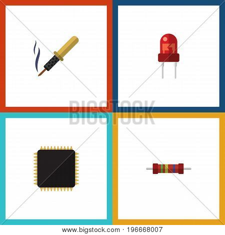 Flat Icon Device Set Of Resistance, Cpu, Repair And Other Vector Objects