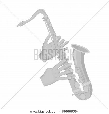The saxophonist plays the saxophone. Golden saxophone single icon in monochrome style vector symbol stock illustration .
