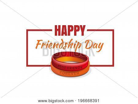 Friendship band and Friendship Day greetings for the design of banners and greeting cards. Friendship Day lettering. Vector illustration