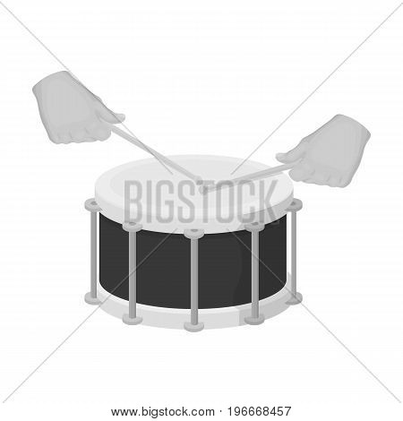 Drum, percussion musical instrument. Drum shot single icon in monochrome style vector symbol stock illustration .