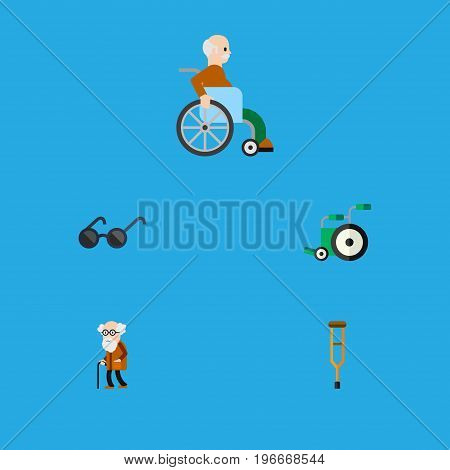 Flat Icon Cripple Set Of Stand, Handicapped Man, Ancestor Vector Objects