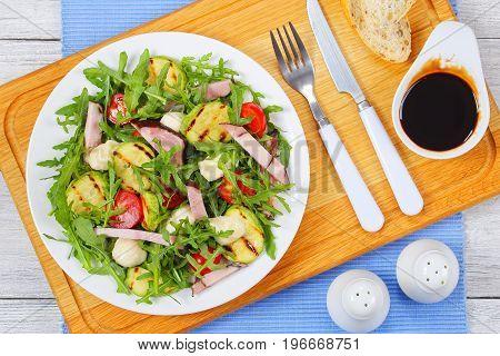 Grilled Zucchini, Tomato Greens Summer Salad