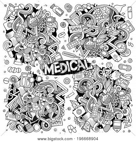 Vector hand drawn doodle cartoon set of Medic theme items, objects and symbols
