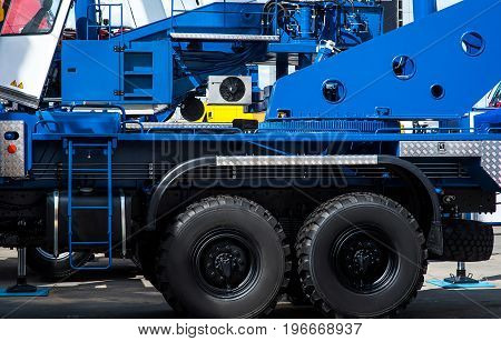 transportation, transport and vehicle parts concept - industrual truck close up