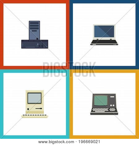 Flat Icon Laptop Set Of Notebook, Computing, Processor And Other Vector Objects