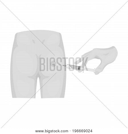 Intramuscular injection into the buttock with a syringe. Medicine single icon in monochrome style vector symbol stock illustration .