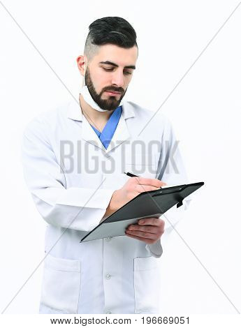 Man With Busy And Serious Face In White Coat