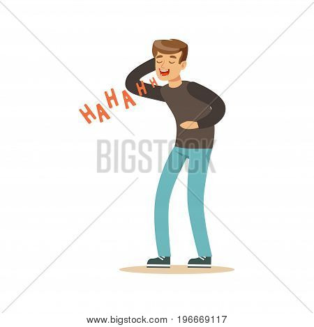 Happy young man in a grey pullover laughing out loud colorful character vector Illustration on a white background