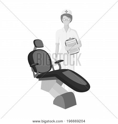 The doctor is a dentist in the dentist's office. Medicine single icon in monochrome style vector symbol stock illustration .