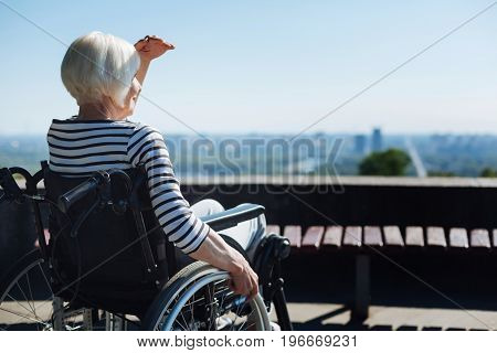 Time for thinking. Delicate senior pretty lady sitting in a wheelchair and looking out for someone while enjoying the warm weather