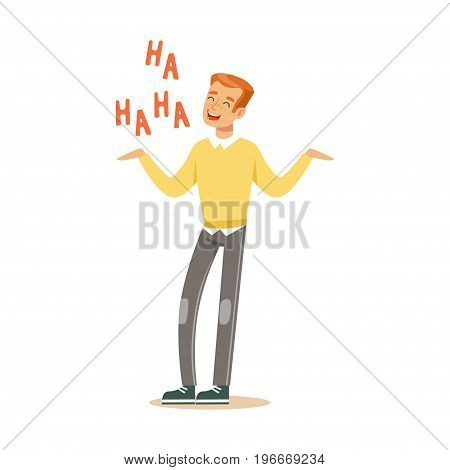Happy young redhead man in an yellow pullover laughing out loud colorful character vector Illustration on a white background