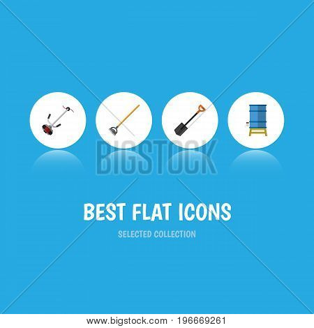 Flat Icon Dacha Set Of Tool, Grass-Cutter, Container And Other Vector Objects