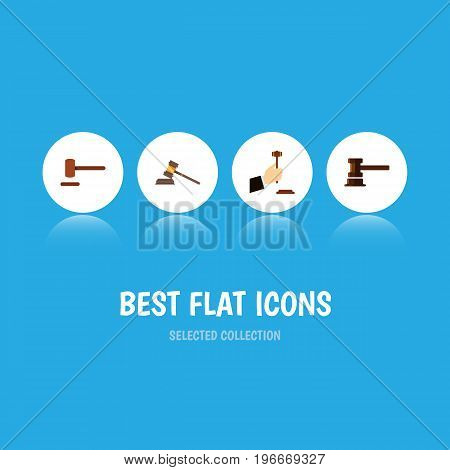 Flat Icon Court Set Of Defense, Government Building, Law And Other Vector Objects