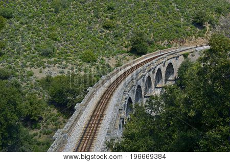 Railway viaduct at Froncardo-Soveria railroad haul. Upper Corsica France