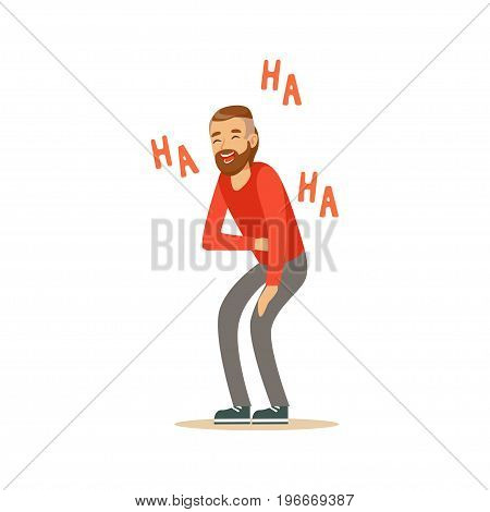Happy bearded man laughing out loud and holding his stomach colorful character vector Illustration on a white background