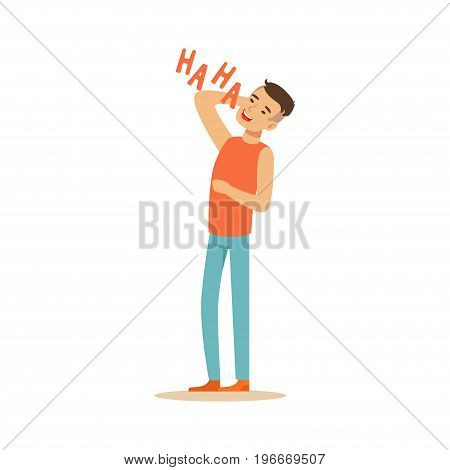Happy man in casual clothes laughing out loud colorful character vector Illustration on a white background