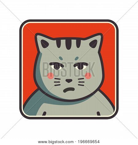 Cute sad grumpy cat icon. Cat avatar. Vector Illustration.