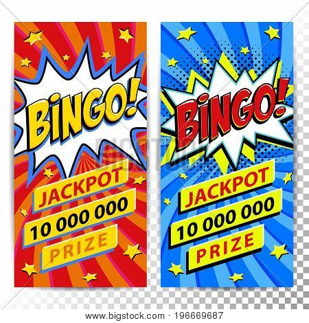 Bingo lottery web banners. Lottery game background. Comics pop-art style bang shape on a red twisted background. Ideal for web banners. Vector illustration.