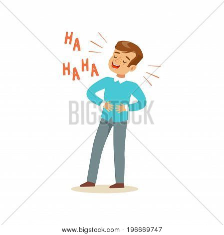 Happy boy with dark brown hair laughing out loud and holding his stomach colorful character vector Illustration on a white background