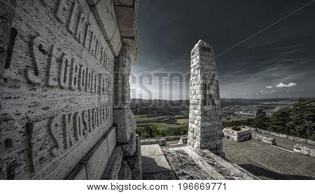 BREZOVA POD BRADLOM SLOVAKIA - MAY 31: The Barrow of Slovak general Milan Rastislav Stefanik on hill Bradlo on Masy 31 2017 in Brezova pod Bradlom