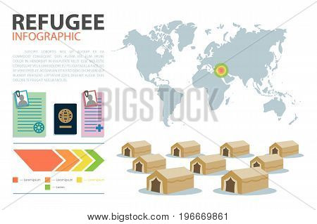 World map. Geographical infographic. Immigration routes infographic template. Vector illustration